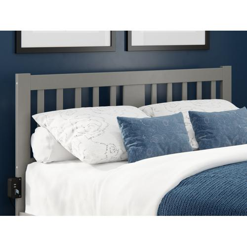 Atlantic Furniture - Tahoe Queen Headboard with USB Turbo Charger in Grey