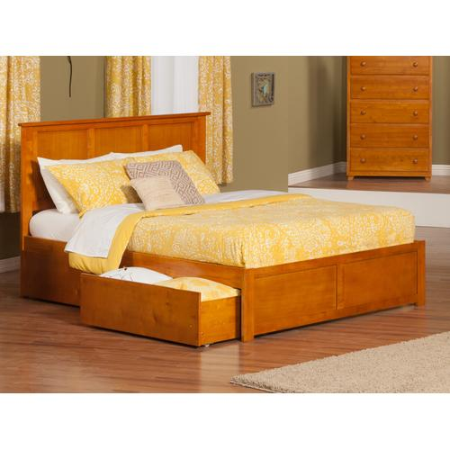 Madison Queen Flat Panel Foot Board with 2 Urban Bed Drawers Caramel Latte