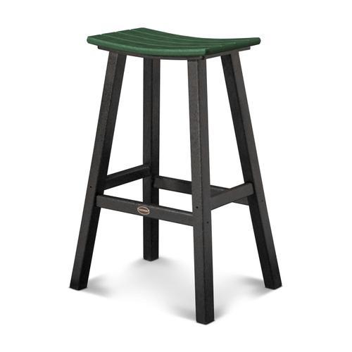 "Black & Green Contempo 30"" Saddle Bar Stool"