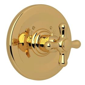 Verona Thermostatic Trim Plate without Volume Control - Italian Brass with Cross Handle