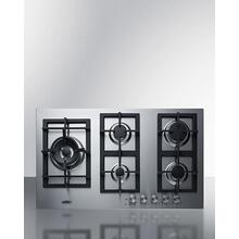 5-burner Gas Cooktop Made In Italy With Sealed Burners, Multiple Heating Outputs, A 304 Grade Stainless Steel Surface, and Continuous Cast Iron Grates