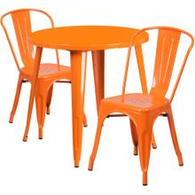 30'' Round Orange Metal Indoor-Outdoor Table Set with 2 Cafe Chairs
