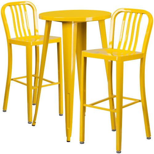 24'' Round Yellow Metal Indoor-Outdoor Bar Table Set with 2 Vertical Slat Back Stools
