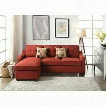 ACME Cleavon II Sectional Sofa & 2 Pillows - 53740 - Red Linen