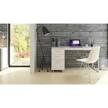 View Product - Centro 6414 3-Drawer File Cabinet in Satin White Painted Oak Grey Glass