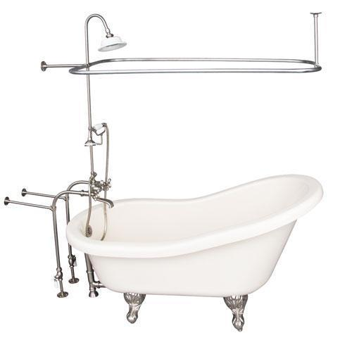 "Fillmore 60"" Acrylic Slipper Tub Kit in Bisque - Brushed Nickel Accessories"