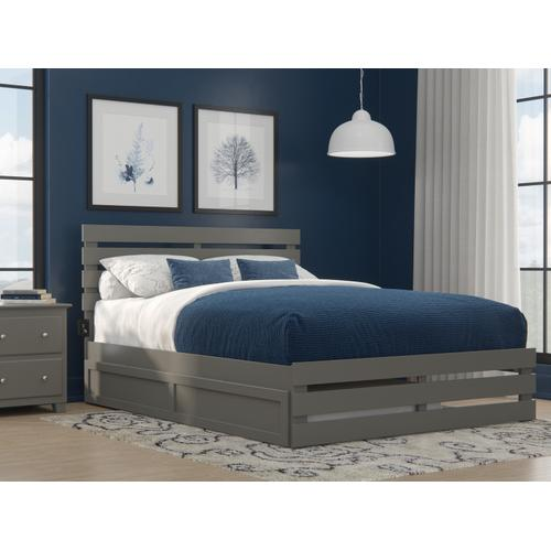 Oxford Queen Bed with Footboard and USB Turbo Charger with Twin Extra Long Trundle in Grey