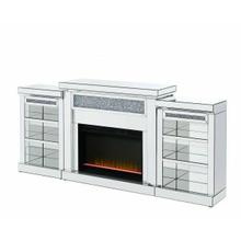 ACME Noralie Fireplace & Side Pier (LED) - 90655 - Glam - LED Fireplace, Mirror, Glass, Faux Diamonds, Composite Wood - Mirrored