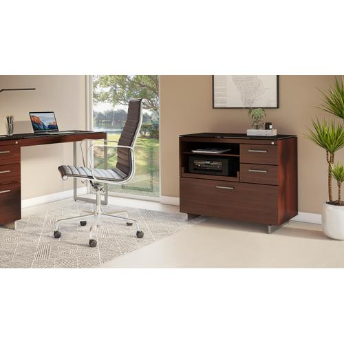 BDI Furniture - Sequel 20 6117 Multifunction Cabinet in Chocolate Walnut Satin Nickel