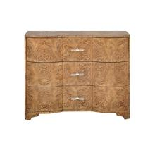Three Drawer Chest In Dark Burl Wood With Acrylic Hardware