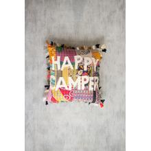 See Details - happy camper kantha pillow