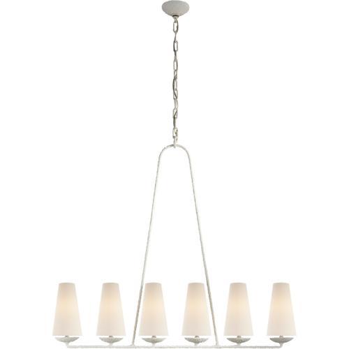 Visual Comfort - AERIN Fontaine 6 Light 45 inch Plaster Linear Chandelier Ceiling Light