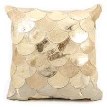 """Natural Leather Hide S1203 Beige Gold 20"""" X 20"""" Throw Pillow"""