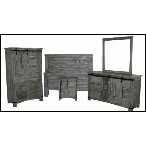 Million Dollar Rustic - Straight Ranch Bed W/ Barn Door Case Goods