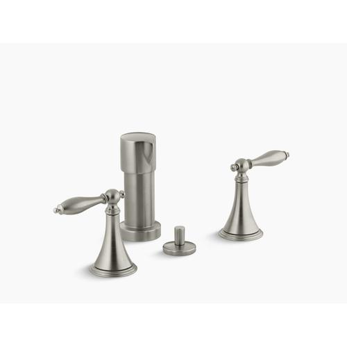 Vibrant Brushed Nickel Vertical Spray Bidet Faucet With Lever Handles and Matching Handle Inserts