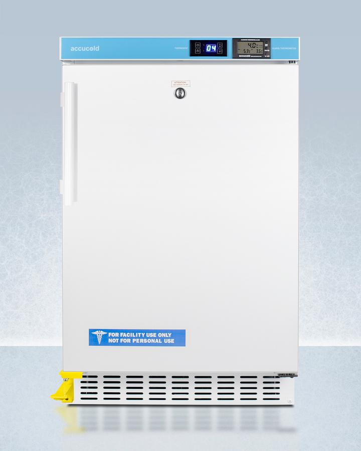 """SummitPharmacy Series Ada Compliant 20"""" Wide Built-In Undercounter All-Refrigerator For Vaccine Storage, Frost-Free With A Step-To-Open Door Pedal, Internal Fan, External Digital Controls And Nist Calibrated Thermometer, And Lock"""
