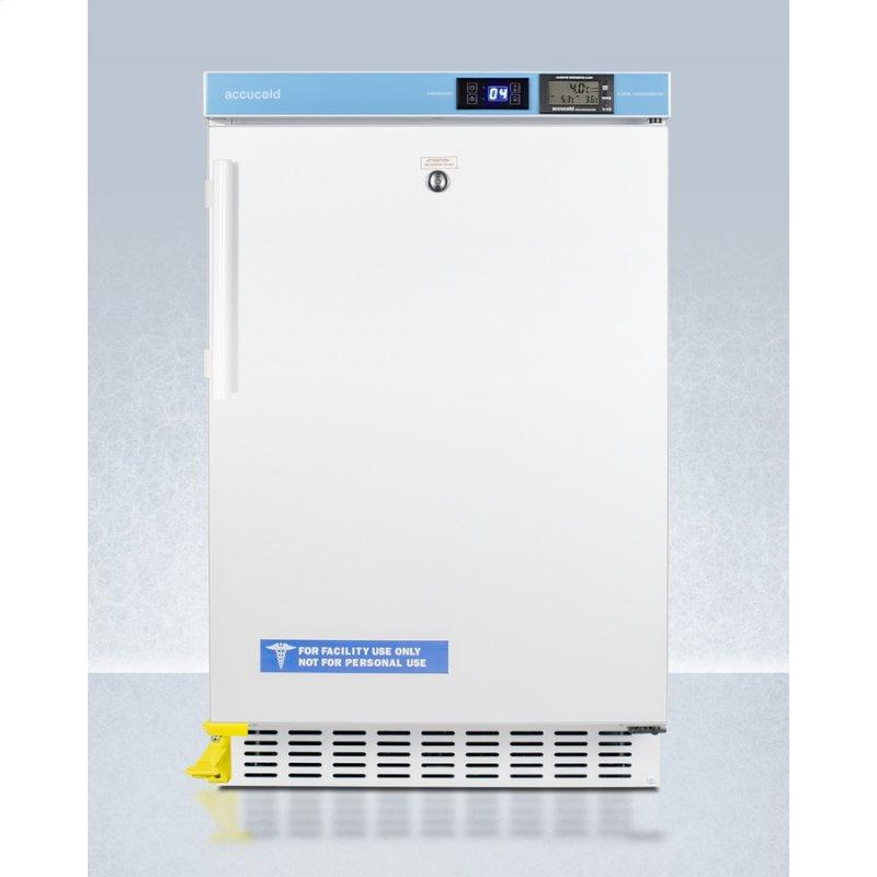 """Pharmacy Series ADA Compliant 20"""" Wide Built-in Undercounter All-refrigerator for Vaccine Storage, Frost-free With A Step-to-open Door Pedal, Internal Fan, External Digital Controls and Nist Calibrated Thermometer, and Lock"""