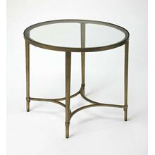 Versatile and sleek, this antique gold finished metal tube frame and glass oval end table blends beautifully with contemporary or classic motifs and in a variety of rooms; use it to showcase a bold lamp or a stack of your favorite magazines.