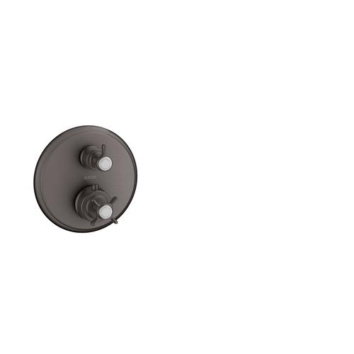 Brushed Black Chrome Thermostat for concealed installation with cross handle and shut-off/ diverter valve