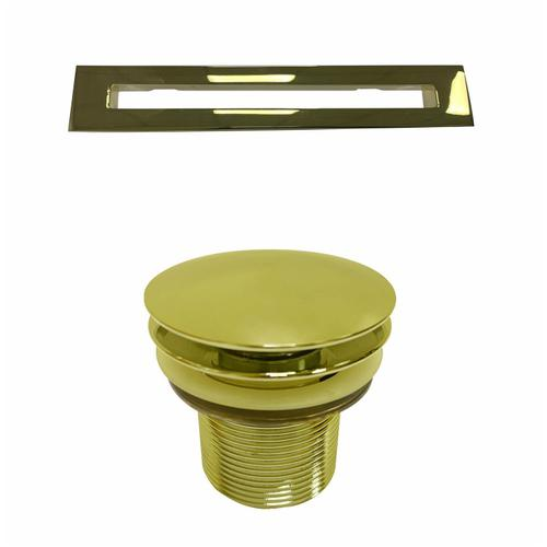 """Stannard 67"""" Acrylic Tub with Integrated Drain and Overflow - Polished Brass Drain and Overflow"""