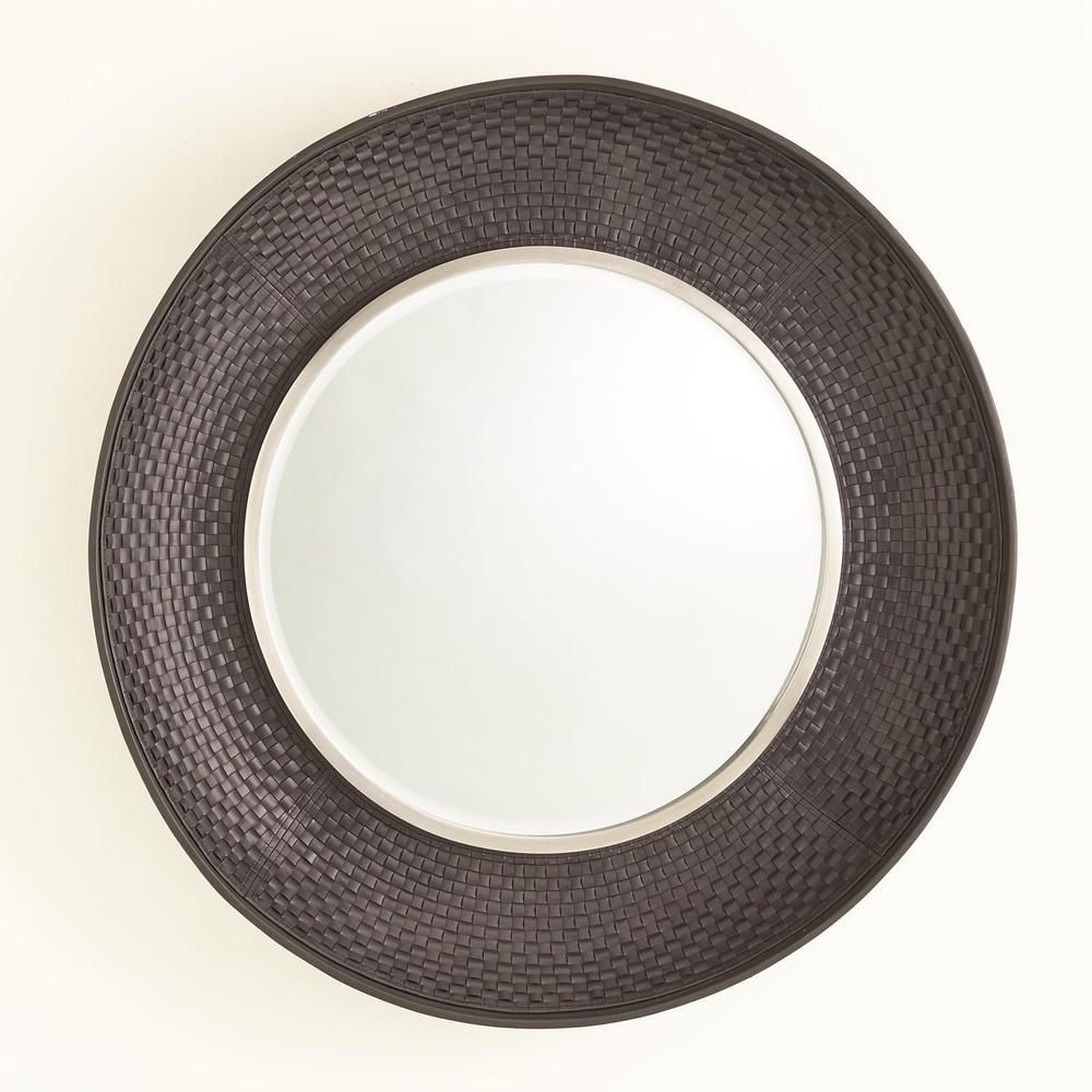 See Details - Milan Round Mirror-Charcoal Leather