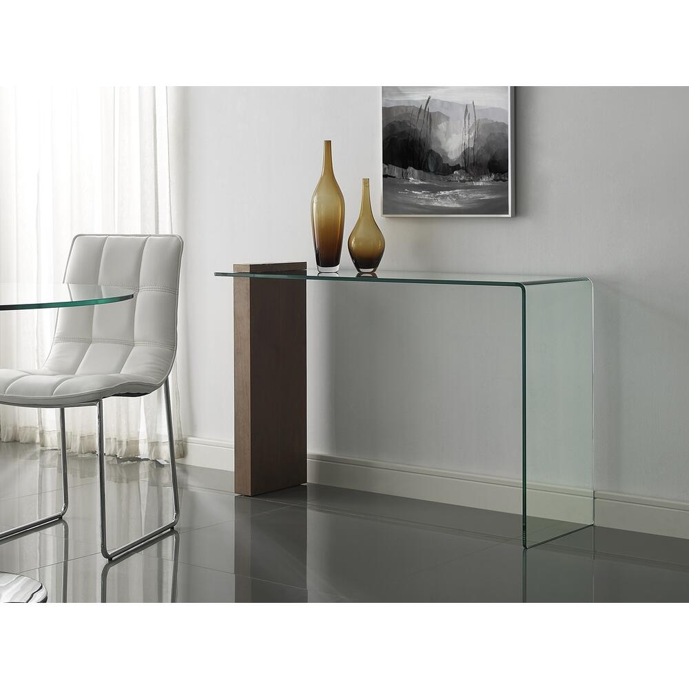The Buono Console Table In Walnut Veneer With Clear Glass