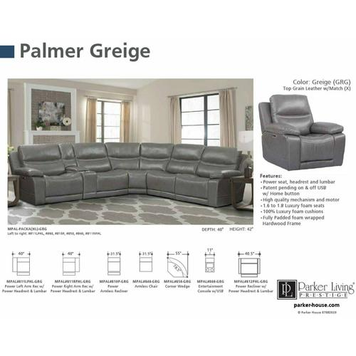 PALMER - GREIGE Right Arm Facing Recliner