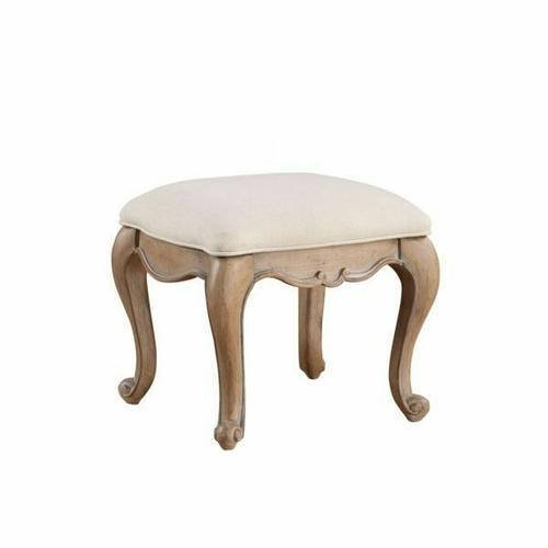 ACME Teagan Vanity Stool - 22101 - Traditional - Wood (Poplar), Wood Veneer (Pine), Poly-Resin, MDF - Oak