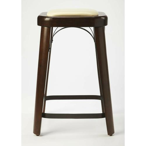Enhance your kitchen, bar or workspace with this casual modern counter stool. Crafted from acacia and pine wood solids, it features a dark brown Coffee finish with a cream faux leather seat cushion, and a black iron foot rest with matching arched seat fra