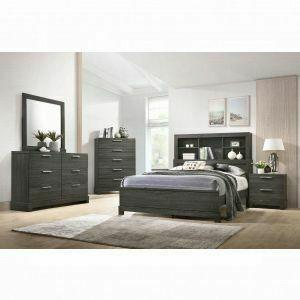 ACME Lantha Queen Bed w/Storage - 22030Q - Gray Oak
