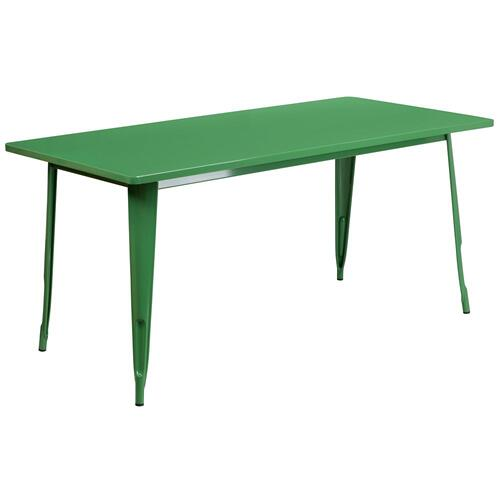 31.5'' x 63'' Rectangular Green Metal Indoor-Outdoor Table