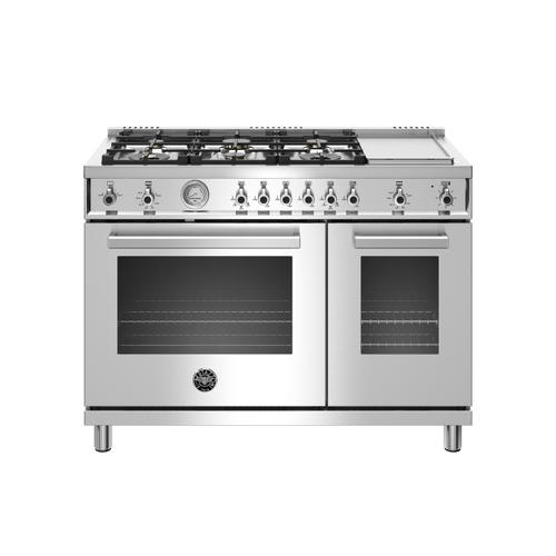 Bertazzoni - 48 inch All-Gas Range 6 Brass Burner and Griddle Stainless Steel