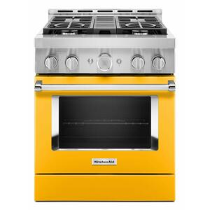 KitchenAidKitchenAid® 30'' Smart Commercial-Style Gas Range with 4 Burners - Yellow Pepper