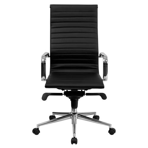 Alamont Furniture - High Back Black Ribbed Leather Executive Swivel Chair with Knee-Tilt Control and Arms