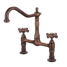 Guthrie Kitchen Bridge Faucet with Metal Cross Handles - Oil Rubbed Bronze