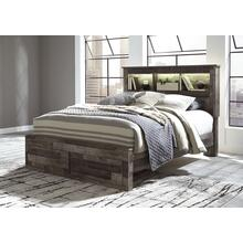 Derekson Queen Bed W/Storage Footboard & Bookcase Headboard Multi Gray