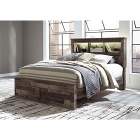 See Details - Derekson Queen Bed W/Storage Footboard & Bookcase Headboard Multi Gray