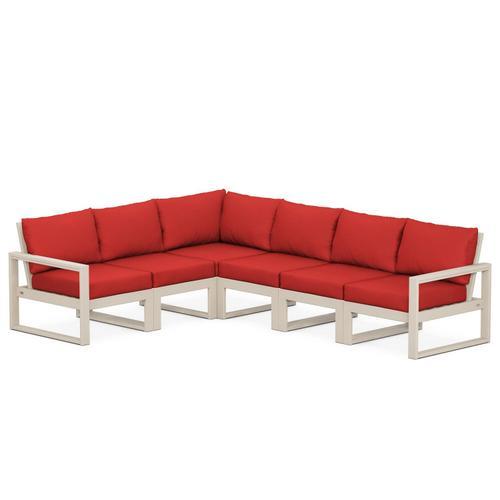 Polywood Furnishings - EDGE 6-Piece Modular Deep Seating Set in Sand / Crimson Linen