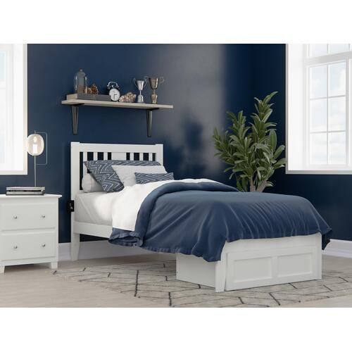 Tahoe Twin Extra Long Bed with Foot Drawer and USB Turbo Charger in White