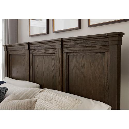 MANSION BED WITH LOW PROFILE FOOTBOARD IN CHARLESTON BROWN