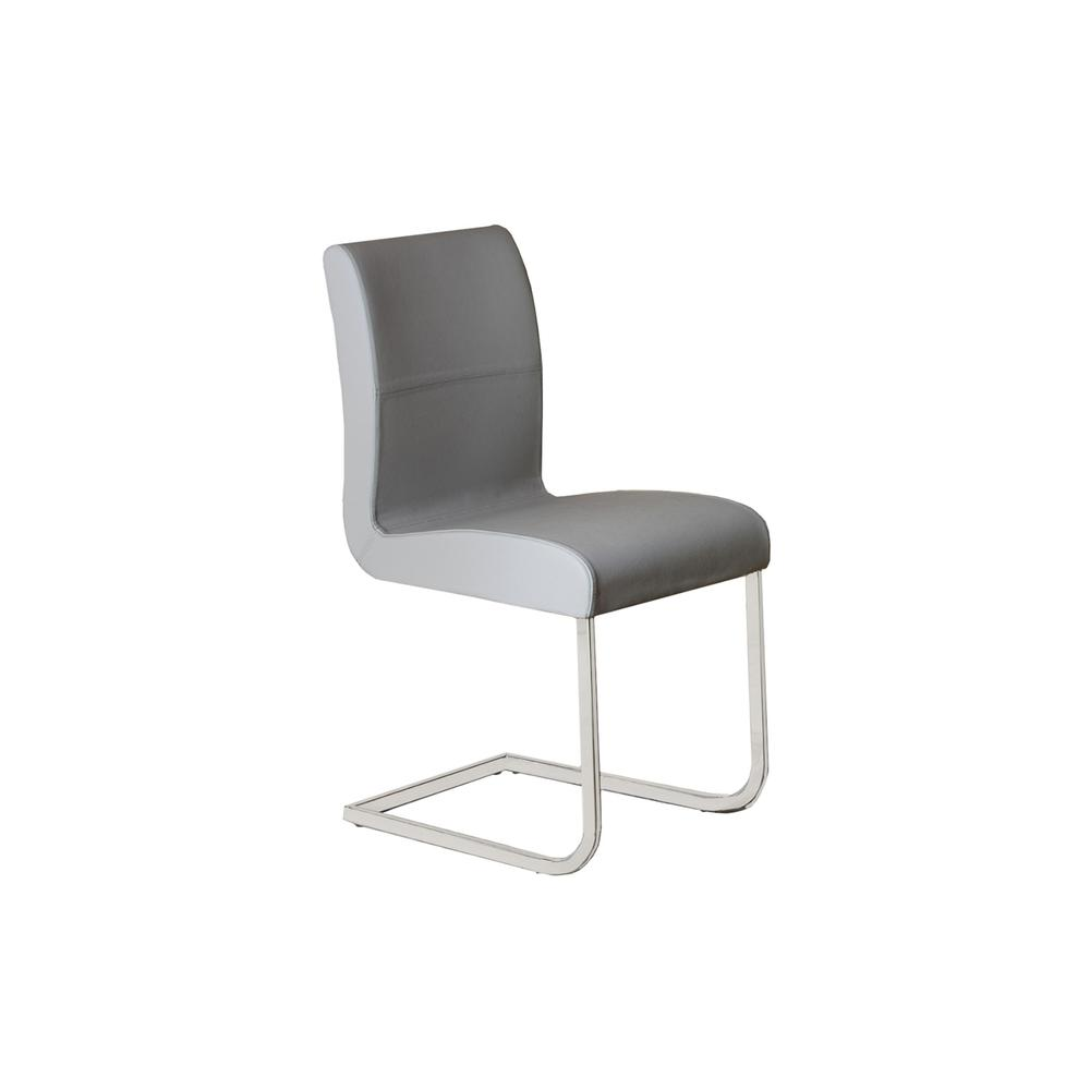 The Stella Italian Dark Gray Leather Dining Chairs