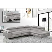 View Product - Divani Casa Maine - Modern Medium Grey Eco-Leather Right Facing Sectional Sofa with Recliner