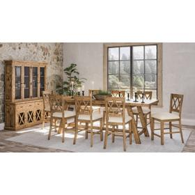 Telluride Trestle Table & 8 Stools Natural Pine