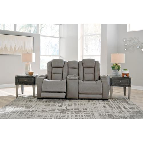Signature Design By Ashley - Power Console Loveseat with Adjustable Headrest, Lumbar, Reading Lights and Wireless Cell Phone Charging