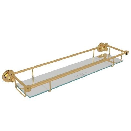 English Gold Perrin & Rowe Holborn Wall Mount Glass Vanity Shelf