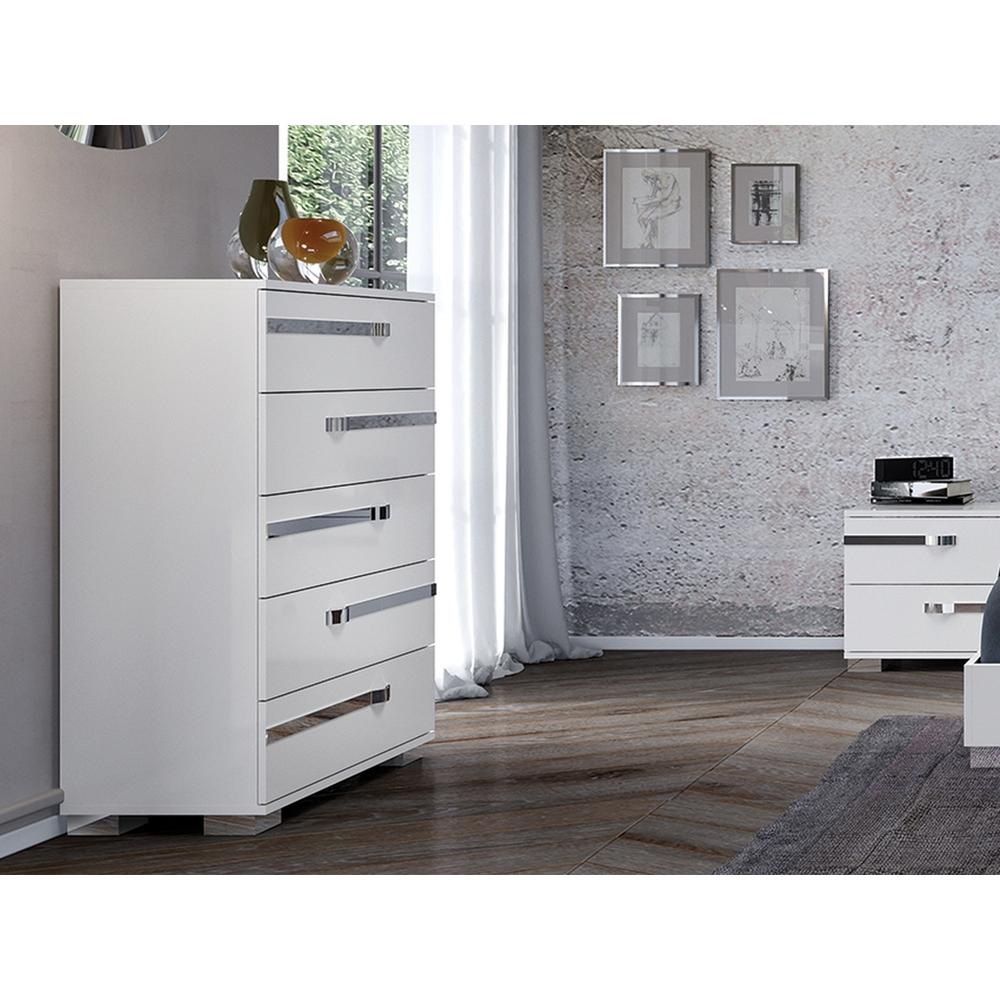 The Wave Chest In High Gloss White Melamine With Chrome Trim