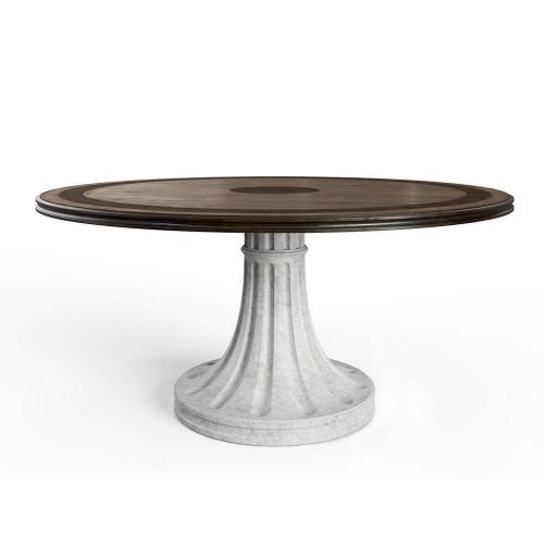 """Thoroughbred 64"""" Round Dining Table - White Gesso"""