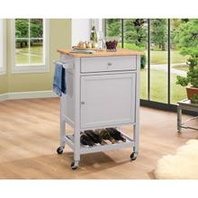 KITCHEN CART W/WOOD TOP