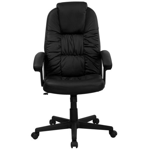 Alamont Furniture - High Back Black Leather Executive Swivel Chair with Arms