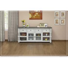 """See Details - 80"""" TV Stand w/ 4 Drawer & 2 Glass Doors Stone"""